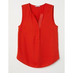 NWT H&M Sleeveless Bright Red Blouse